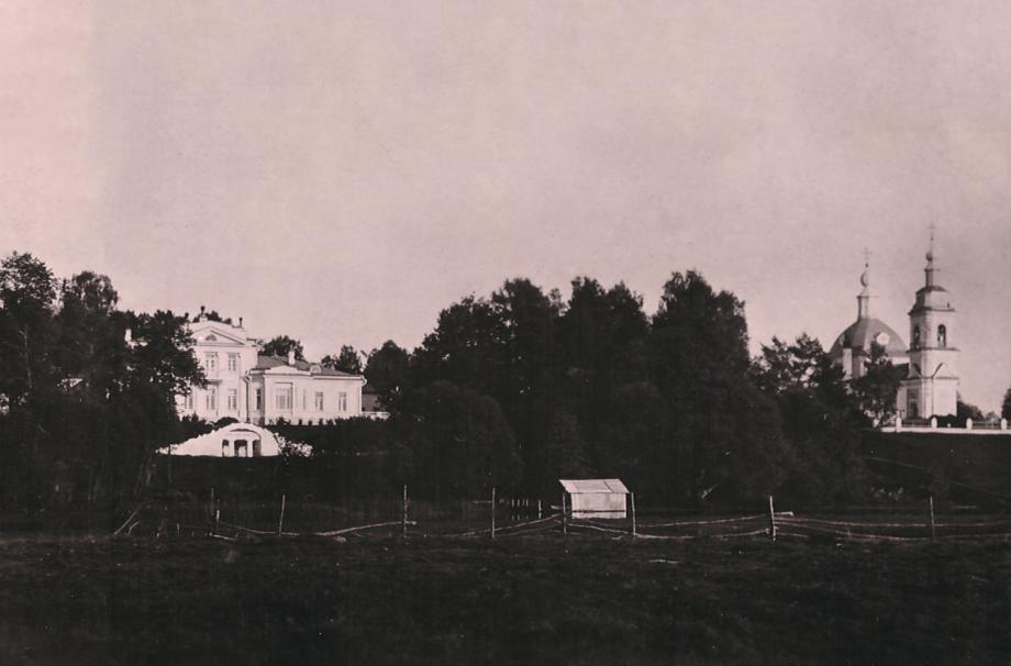Дом Беренса-Шлиппе и храм в Любанове. 1900-е. Частный архив Ю.Б. Шлиппе
